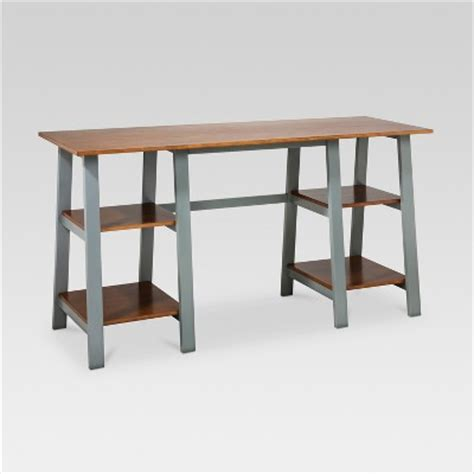 double trestle desk midtone gray threshold target