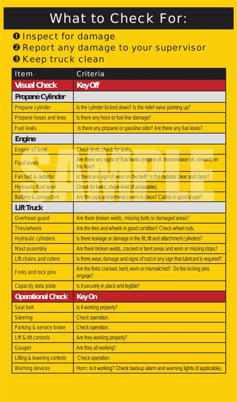 Stand Up Reach Forklift by Forklift Safety Inspection Checklist Book The Equipment Log
