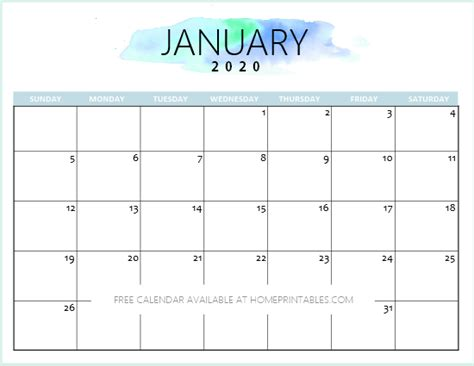 calendar printable january home printables