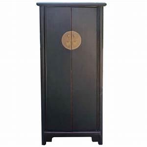 Armoire Chinoise Noire 2 Portes