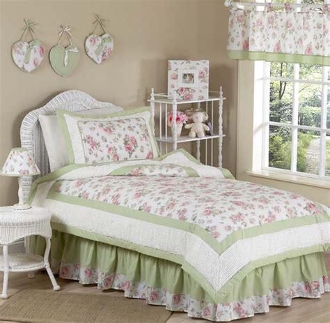shabby chic pink green bedding sweet jojo designs shabby chic pink green flower kid twin bedding set for girl ebay