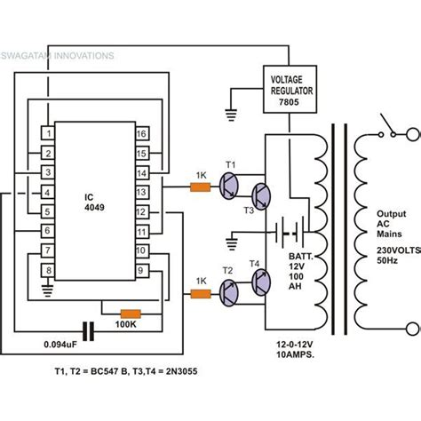 Simple Inverter Circuit Without Charger Diagram