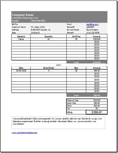 ms excel carpenter services receipt template receipt
