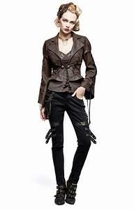 veste steampunk femme punk rave en tissu aspect cuir With vêtements steampunk femme