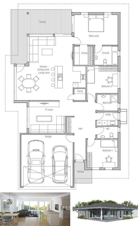 Single Story House Plans For Narrow Lots Photo by Modern House Plan To Narrow Lot House Plan From
