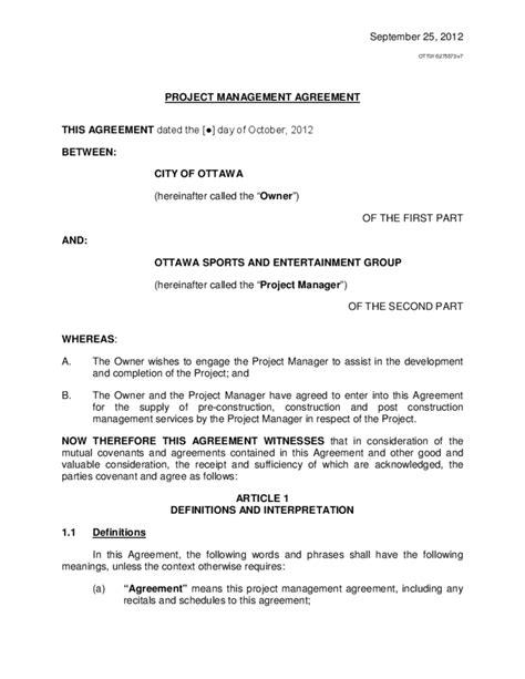 project management agreement ottawa