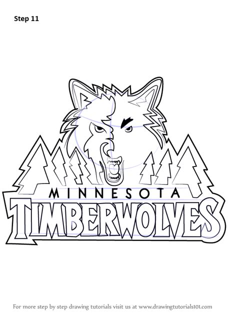 learn   draw minnesota timberwolves logo nba step