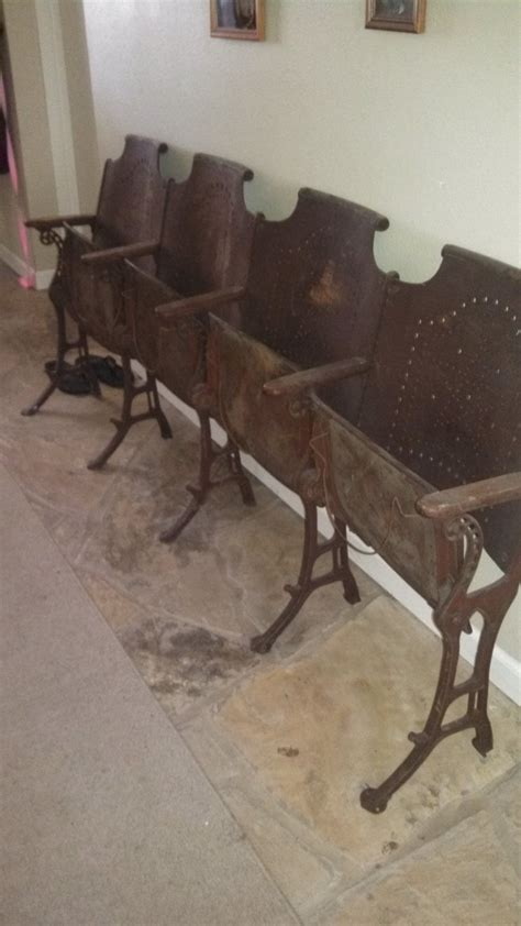 antique folding cast iron church chairs wood row of 4
