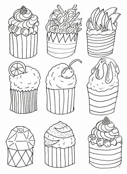 Coloring Cupcakes Simple Pages Cakes Cup Adult