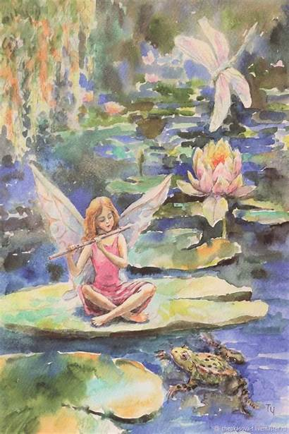 Fairy Watercolor Pond Flower Watercolour Tatiana Fantasy