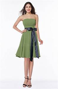 moss green classic a line strapless knee length ruching With plus size knee length wedding dresses