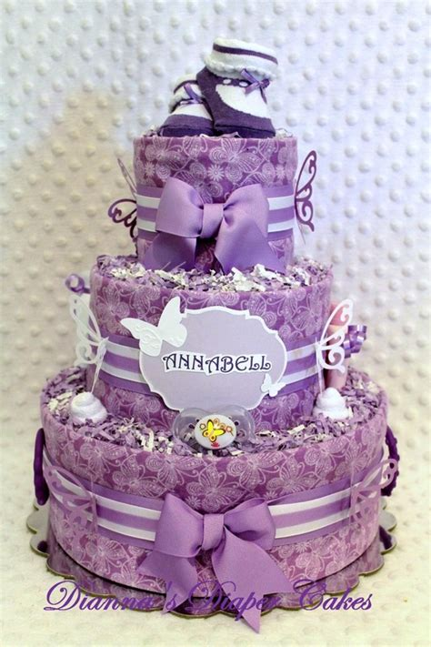 purple white butterflies baby diaper cake embellished