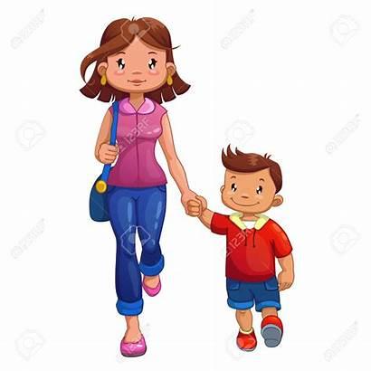 Son Mom Walking Clipart Cartoon Mother Comics