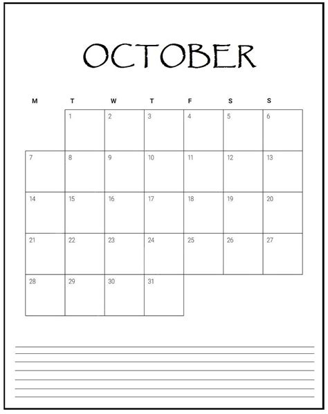 october  blank planner monthly calendar template