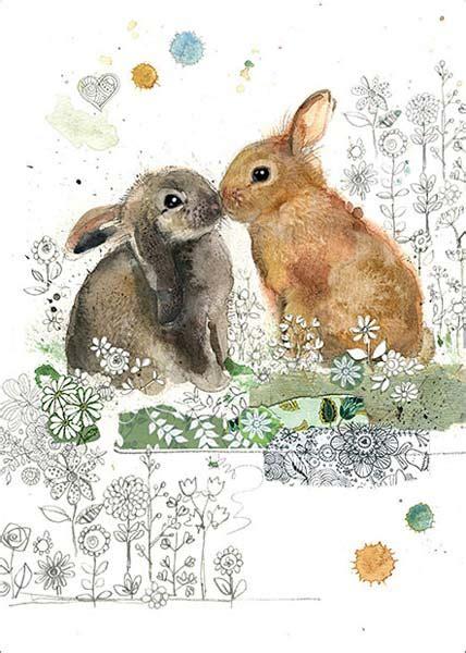 bug art rabbit kiss blank card baf