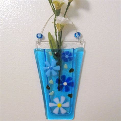 blue and white vase fused glass wall vase glass flower vase glass wall