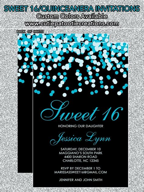 tiffany blue black confetti sweet  invitations