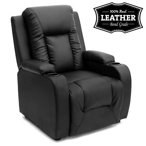 ebay sofa chairs oscar leather recliner w drink holders armchair sofa chair reclining cinema ebay