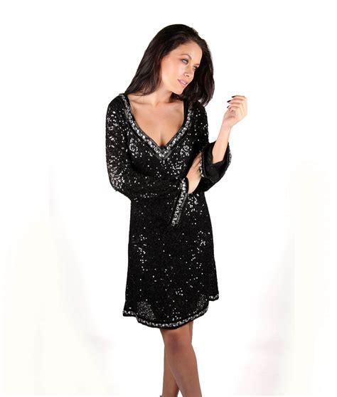 sleeve v neck dress lotus black sequin sleeve v neck dress