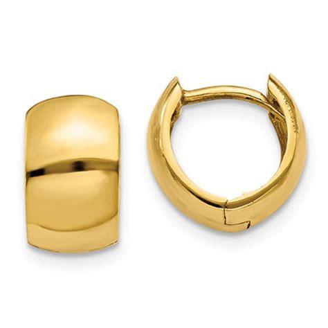 small  yellow gold wide hinged huggie hoop earrings   mm
