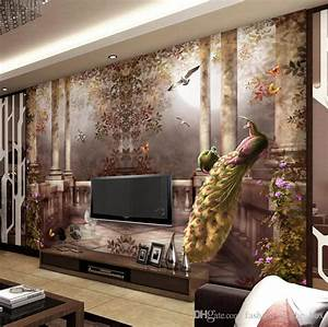 3d Wallpaper For Walls Peacock Garden Wall Mural Rococo