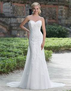 Sincerity wedding dress style 3876 this romantic lace for Fit and flare tulle wedding dress
