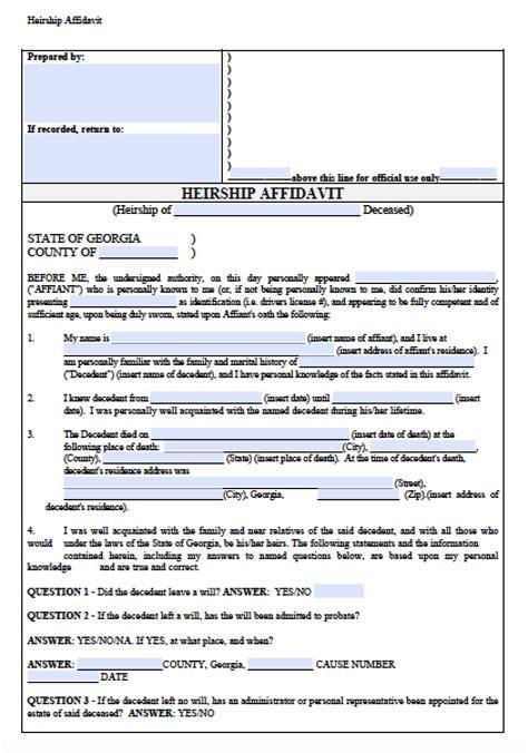 georgia small estate affidavit form free georgia affidavit of heirship form pdf word