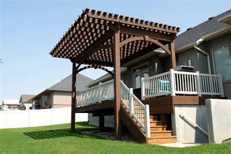 pergola cantilever roof extends shade beyond backyard deck western timber frame