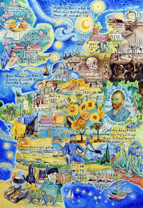 vincent gogh artwork the and works of vincent gogh a painted map