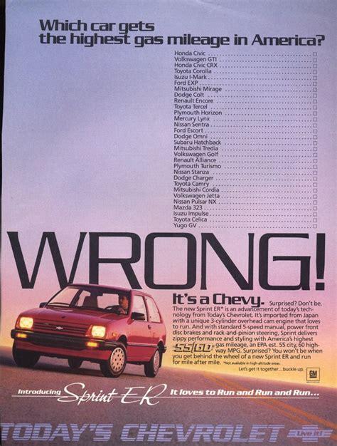 chevrolet sprint vintage car ads