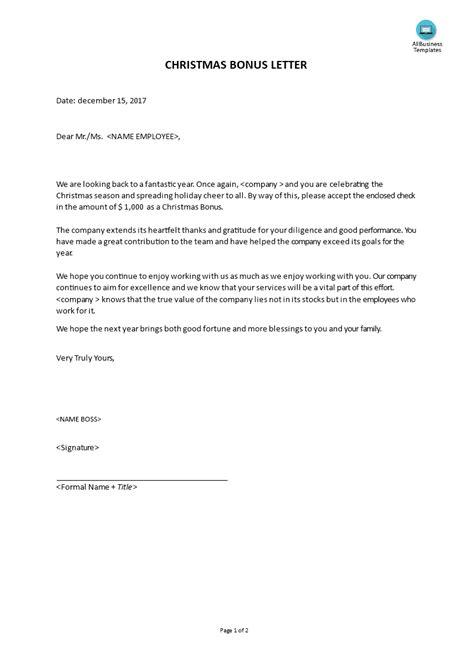 christmas bonus letter templates  allbusinesstemplatescom