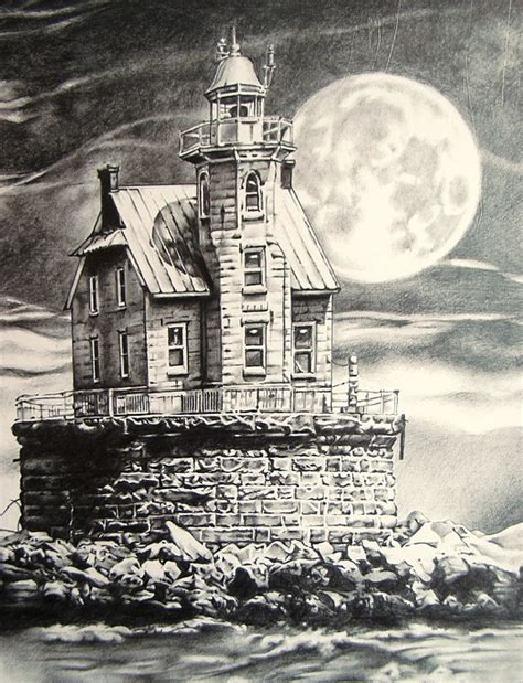 race rock light house drawing  michael lee summers