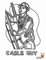 Coloring Construction Pages Cable Gritty Guy Welder Worker Template Boys Yescoloring Templates sketch template