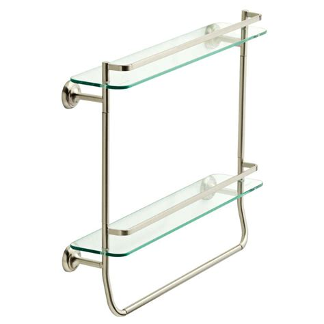 Delta Bathroom Glass Shelf by Delta 4 In W Glass Shelf With Towel Bar In Brushed