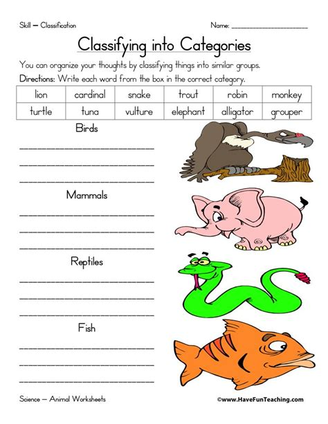 Animals Worksheets Have Fun Teaching