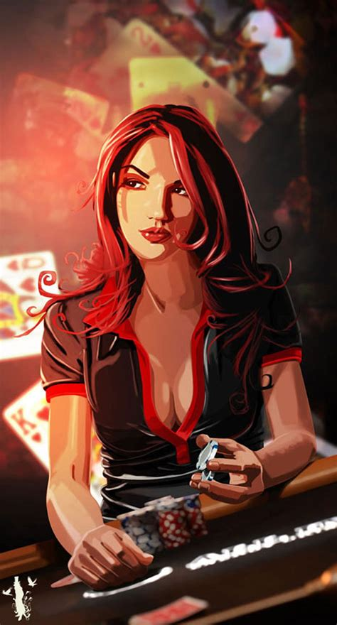 2d, Character, Girl, Woman, Illustration, Cards, Poker ...