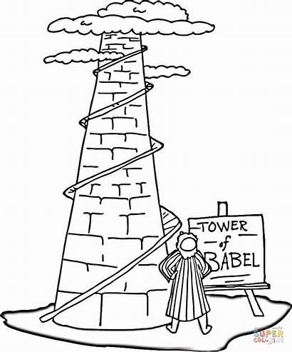 Babel Tower Coloring Pages Printable Crafts Supercoloring