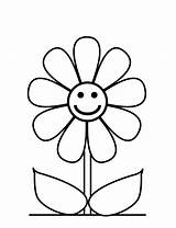 Flower Coloring Pages Flowers Printable Easy Preschool Sheets Cute Cartoon Getcoloringpages sketch template
