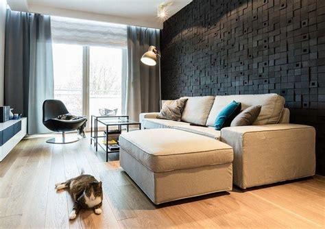 3d Wandpaneele In Schwarz Hinter Dem Sofa