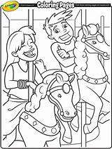 Carousel Horses Coloring Fair Crayola Pages Horse Ride sketch template