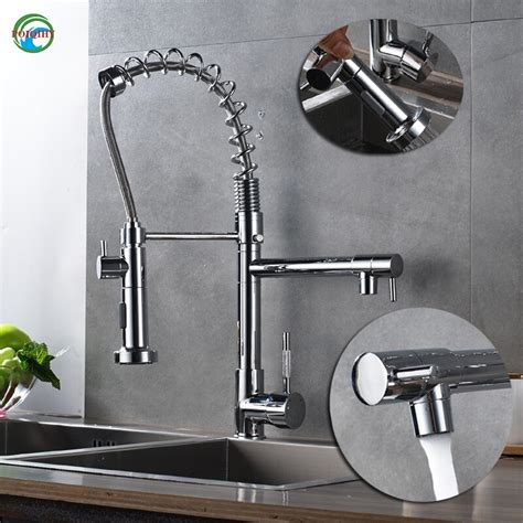 kitchen pull faucet quality spray brass chrome tap mixer sink single mounted deck faucets hole