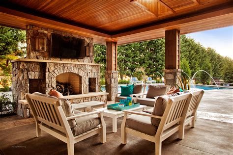 Outdoor Living Room With Fireplace Conversation Seating