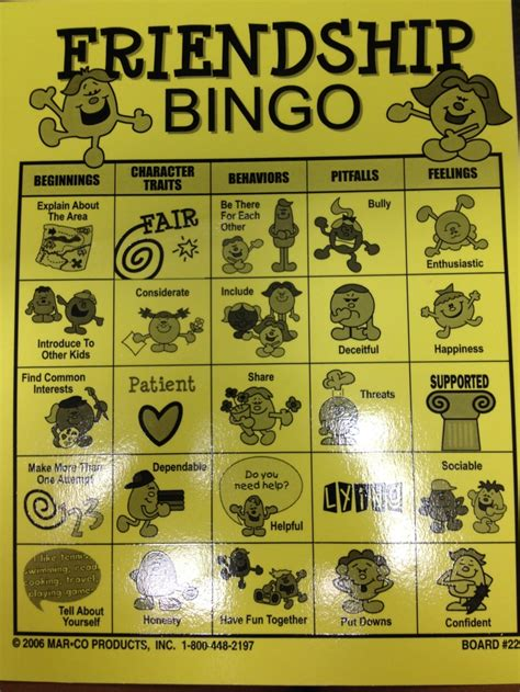 friendship bingo template bingo pinterest friendship