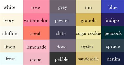 paint color names list www pixshark images