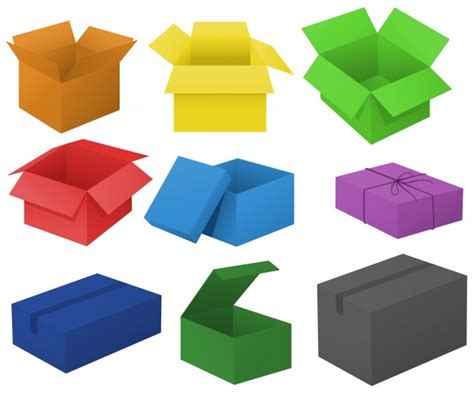 Different Colors by Cardboard Boxes In Different Colors Illustration Vector