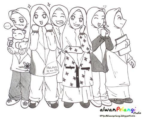 gambar anime muslim hitam putih februari 2013 khimar biru