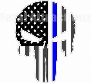 Rugged American Flag Skull Blue Line Vinyl Sticker Decal