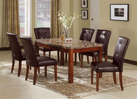 bologna brown marble top dining table set leather pu
