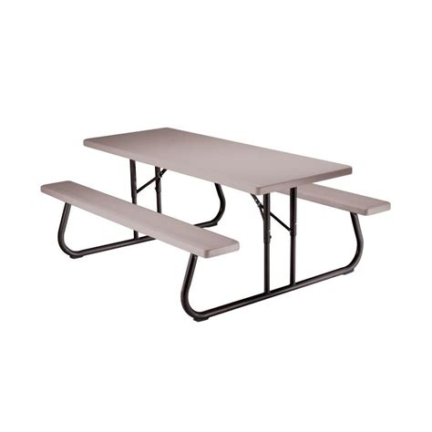 lifetime folding picnic table shop lifetime products 72 in gray resin rectangle folding