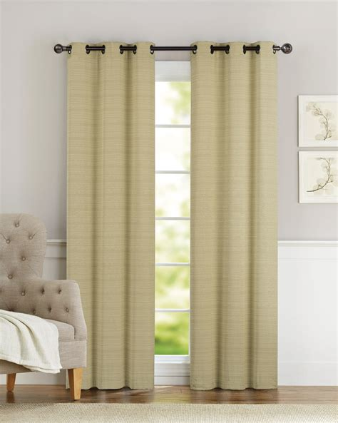pair of clyde gold window curtain panels w grommets